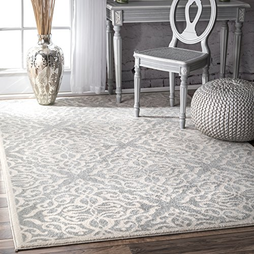 nuLOOM RZBD11A Transitional Contessa Area Rug, 9' x 12', Silver (Contessa 12 Light)