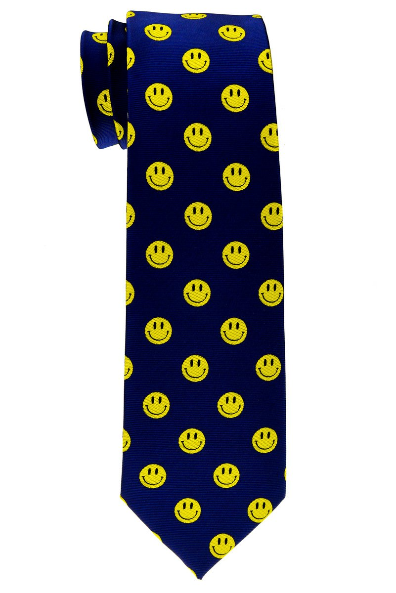Retreez Happy Smiley Face Emoticon Woven Microfiber Boy's Tie (8-10 years) - Navy Blue