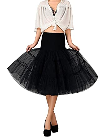 d278c3a3db12 Zafee-Freely Women's 1950s Vintage Rockabilly Puffy Petticoat Knee Length Tulle  Underskirt at Amazon Women's Clothing store: