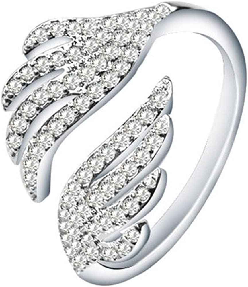 Sterling Silver Plated Cubic Zirconia Big Double Angel Wings Open Band Ring,Adjustable For US 5-9