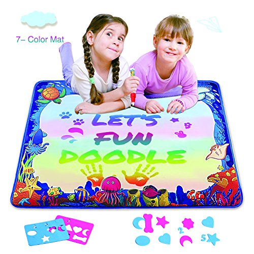 Magic Water Drawing Mat, Upgrade Doodle Mat in 7-Colored, Aqua Painting Board Writing Mats with Magic Pen & Big Molds, Best Educational Toys Gifts for Boys Girls Age 2 3 4 5+ Year Kids/Toddlers (All About Me Art Projects For Toddlers)