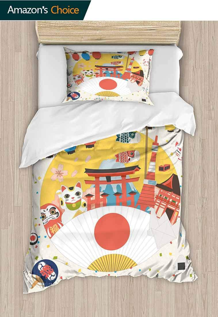 Lantern Custom Made Duvet Cover and Pillowcase Set, Japanese Inspired Commercial Pattern Various Culture Items Cool Cat Origami, Bedding Set for Kids, Boys and Teens - 2 Piece, 79 W x 90 L Inches