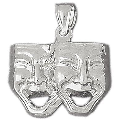 Amazoncom 14k White Gold Drama Mask Laugh Now Cry Later Pendant
