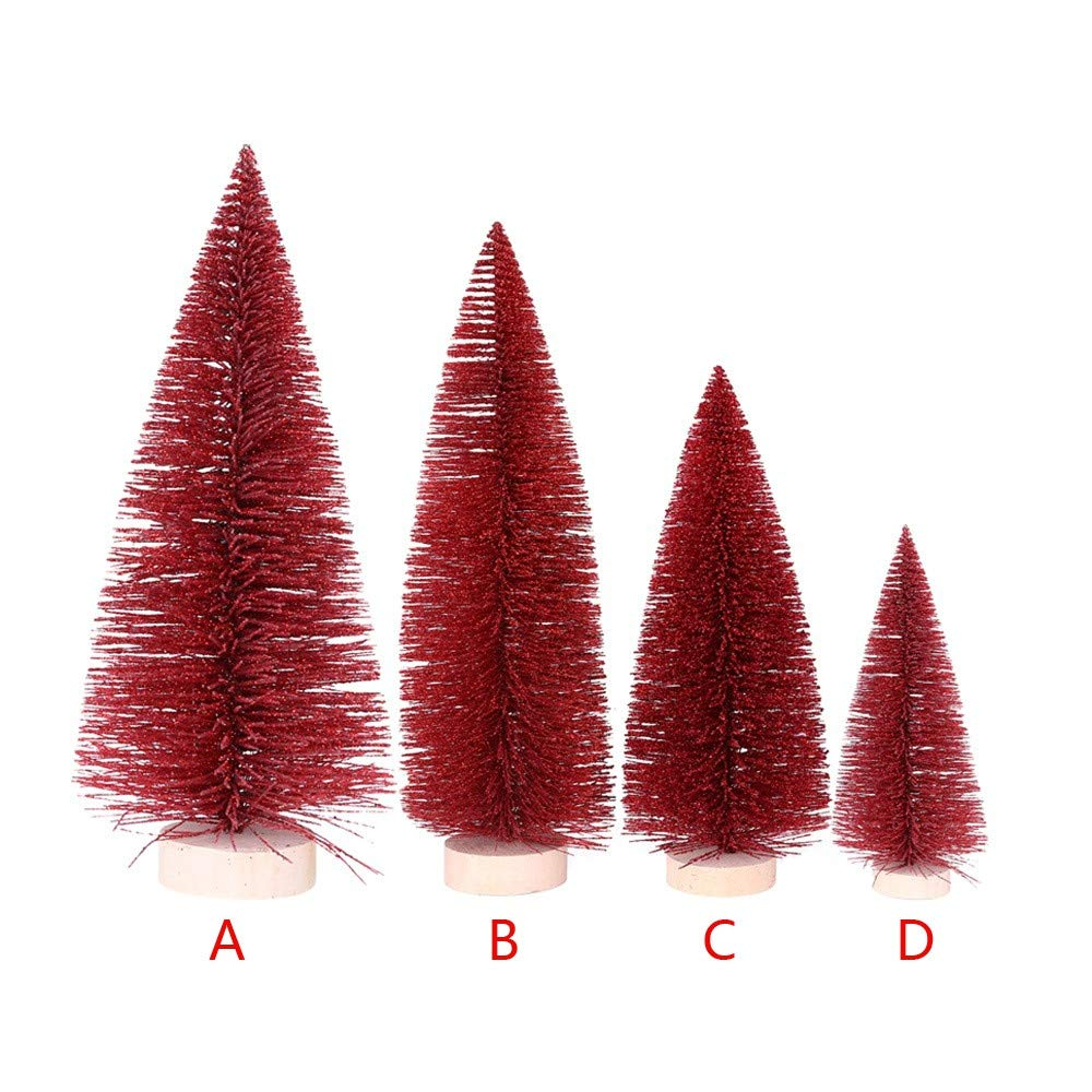 Clearance! Sunfei Christmas Tree Mini Pine Tree With Wood Base DIY Crafts Home Table Top Decor (Red, 25cm)