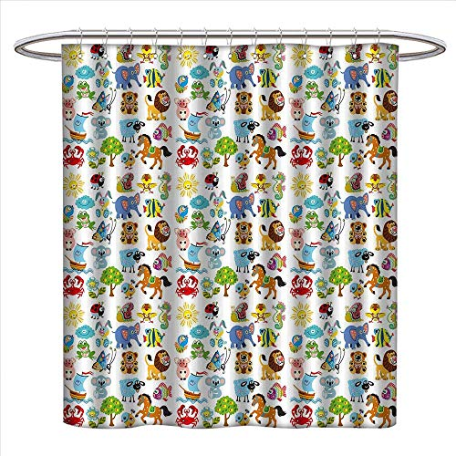 WinfreyDecor Nursery Shower Curtain Collection by Various Different Animal Figures and Nature Themed Cartoon Characters Babies Kids Patterned Shower Curtain W36 x L72 Multicolor ()