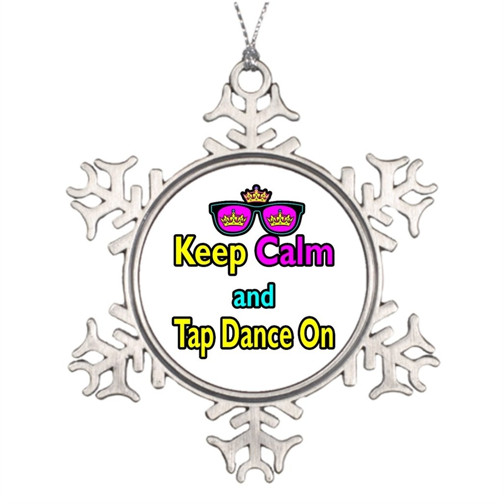 Xmas Trees Decorated Sunglasses Keep Calm And Tap Dance On Decorative Snowflake Ornaments