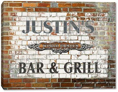 JUSTIN'S Bar & Grill Brick Wall Gallery Wrapped Canvas Sign Home Wall Decor Bar Gift 24