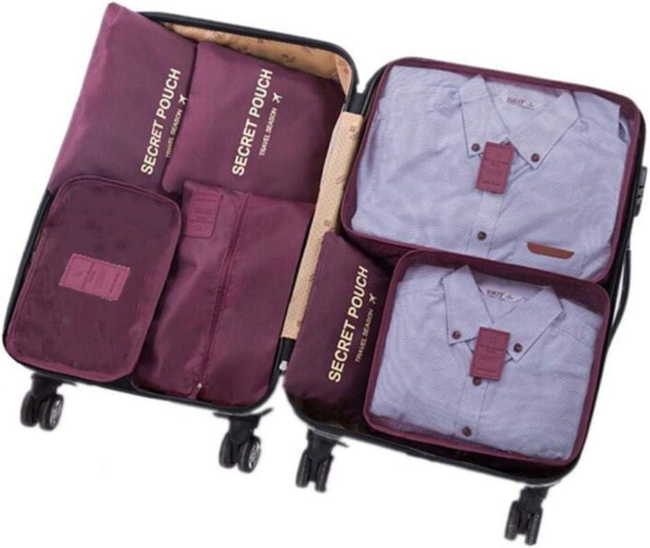 7 Set de Organizador de Equipaje, Impermeable Organizador de Maleta Bolsa para Ropa Sucia de Viaje, Material Nylon(Wine Red)