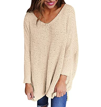 Chunky Jumpers for Women V Neck Knitted Jumper Oversized Longline Jumper  Dress Knit Sweater Ladies Baggy e2366f394