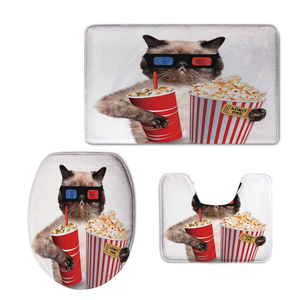 Fashion 3D Baseball Printed,Movie Theater Decor,Cat with Popcorn and Drink Watching Movie Glasses Entertainment Cinema Decorative,Multicolor,U-Shaped Toilet Mat+Area Rug+Toilet Lid Covers 3PCS/Set