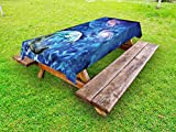 Ambesonne Constellation Outdoor Tablecloth, Exo Solar Planet Painting Style Vibrant Universe Awesome Space, Decorative Washable Picnic Table Cloth, 58 X 104 inches, Turquoise Blue Pale Pink