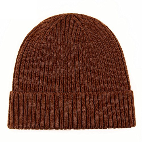Refaxi Coffee Unisex Winter Warm Slouchy Cap Ski Skull Hats Knit (Cable Knit Reversible Hat)