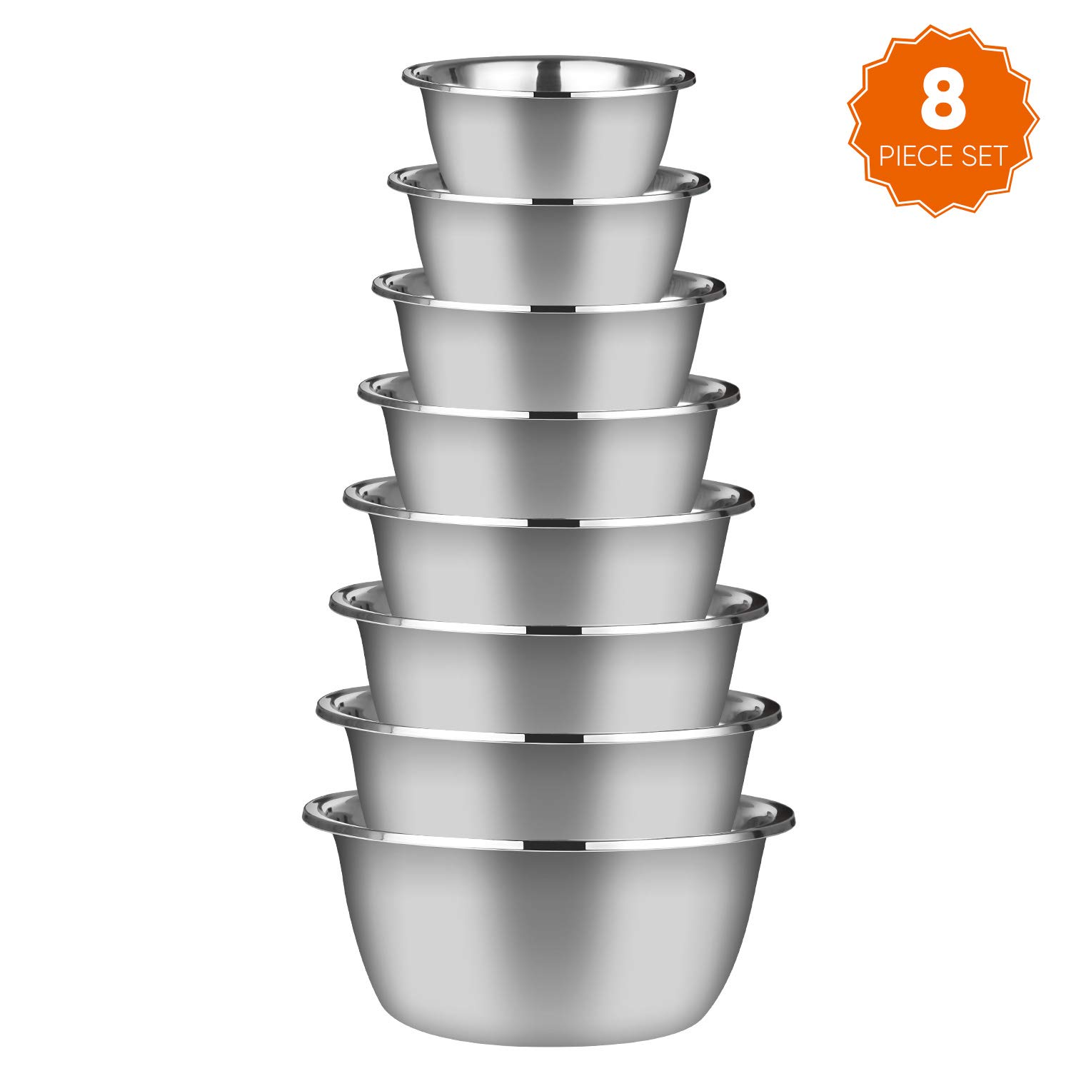 Stainless Steel Mixing Bowls (Set of 8),Polished Mirror Finish Nesting Bowls Without Lids,Includes 2QT,3QT,4QT,5QT,6QT,7.5QT,9QT,10.5QT,Metal Cooking Supplies For Kitchen,Ideal for Baking,Cooking,Sala