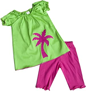 product image for Cheeky Banana Sweet Little Girls Palm Tree top & Leggings Fuchsia/Lime