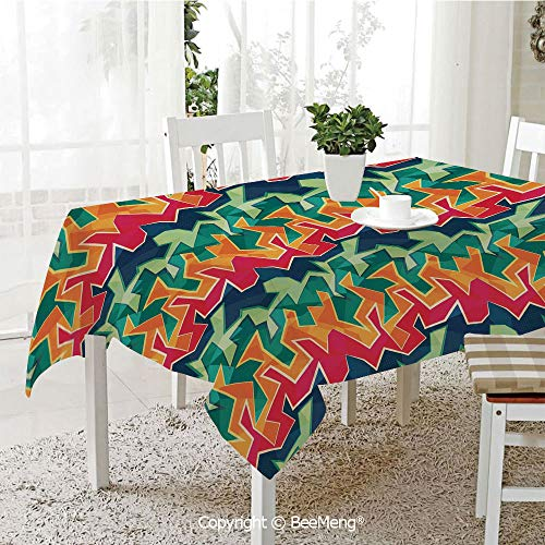 Cool Cover Rattan (BeeMeng Dining Kitchen Polyester dust-Proof Table Cover,Grunge,Colorful Graffiti Inspired Pattern Cool Crazy Funky Display Urban City Street Art,Multicolor,Rectangular,59 x 59 inches)