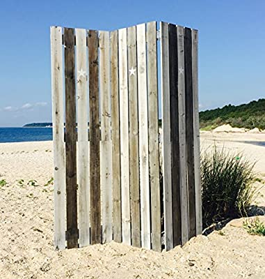 The Cape Cod Star Picket Fence Room Divider, 3 Panels, Vintage Style, Rustic Gray, Distressed Reclaimed Finish, Crafted by Hand of Sustainable Wood, Approx. 6 Ft Tall, By Whole House Worlds