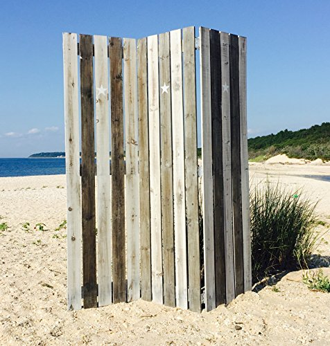 The Cape Cod Star Picket Fence Room Divider, 3 Panels, Vintage Style, Rustic Gray, Distressed Reclaimed Finish, Crafted by Hand of Sustainable Wood, Approx. 6 Ft Tall, By Whole House Worlds by Whole House Worlds