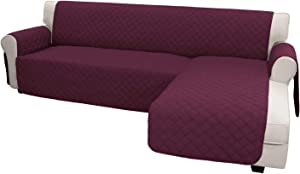Easy-Going Sofa Slipcover L Shape Sofa Cover Sectional Couch Cover Chaise Lounge Slip Cover Reversible Sofa Cover Furniture Protector Cover for Pets Kids Children Dog Cat(Large,Wine/Wine)