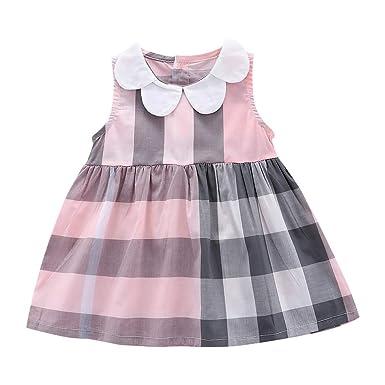 60ebf3ee209e4 Amazon.com: Dsood Infant Dress, Girls Dress Kid Floral Sleeveless Cotton  Sundress Summer Girl Clothes Size 2-7 Years: Clothing