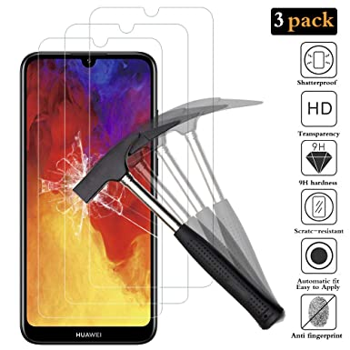 ANEWSIR for Huawei Y6 2019 screen protector, 【3 Pack】[Bubble-Free] [3D Full  Adhesive] Tempered Glass Screen Protector for Huawei y6 2019/y6 pro