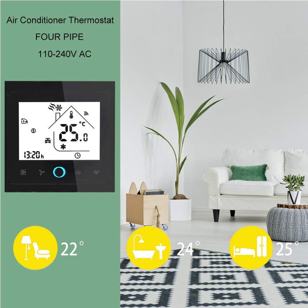 controlador de temperatura Qiumi Termostato Wifi funciona con Alexa P/ágina principal de Google con pantalla LCD de 2 tubos aire acondicionado inteligente controlador de temperatura programable