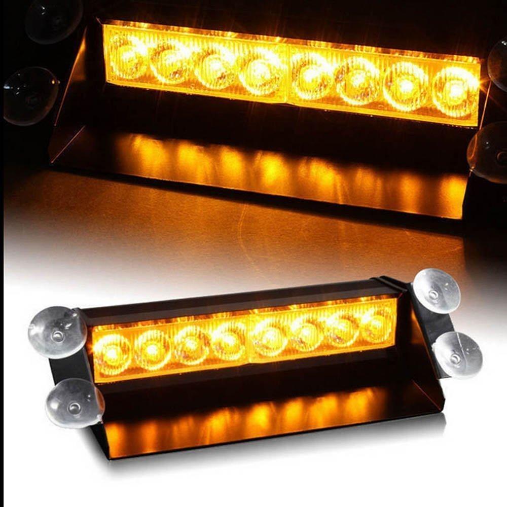 Lumi/ères LED durgence voyant davertissement LED,12V 8 voyants de balisage davertissement de danger de LED pour tableau de bord//visi/ère//pare-brise avant de v/éhicule avec la ventouse Ambre