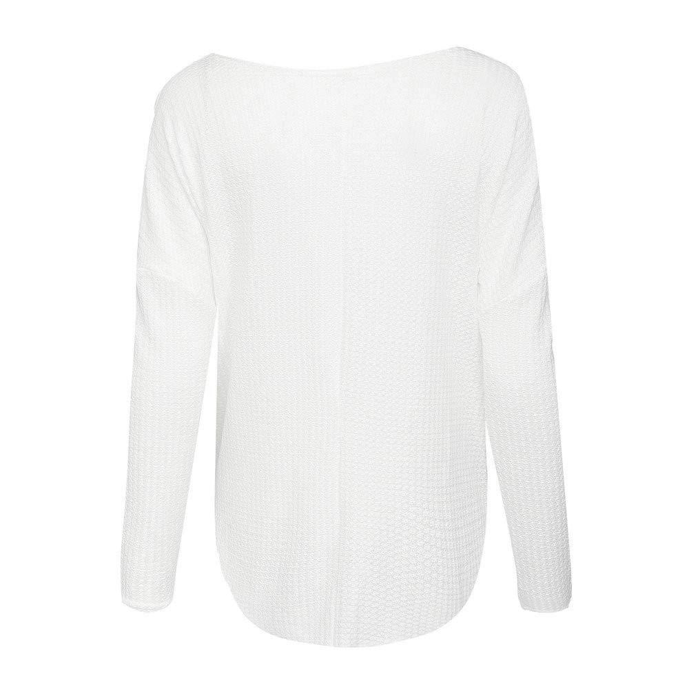 JYC-Suéter para Mujer,Mujeres de Manga Larga de Punto Jersey,De Las Mujeres Suelto Tejer Sayo Blusa NudoHenley Tops Batwing Llanura Camisas Sudadera: ...