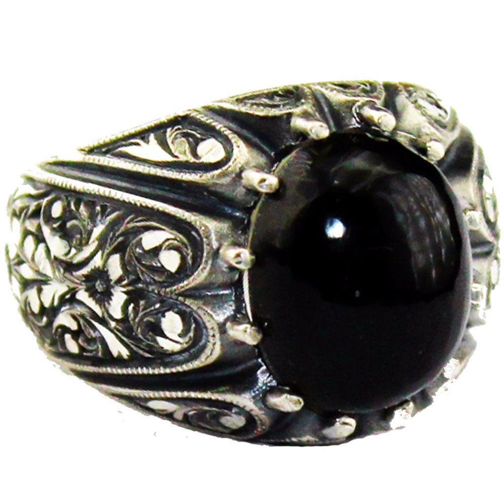 Handmade Ring Steel Pen Crafts Falcon Jewelry Sterling Silver Men Ring Free Express Shipping Black Amber Stone