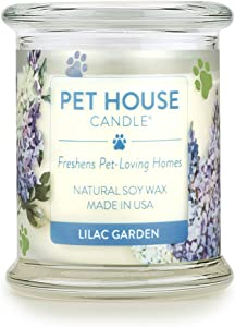 One Fur All 100% Natural Soy Wax Candle, 20 Fragrances - Pet Odor Eliminator, Appx 60 Hrs Burn Time, Non-Toxic, Reusable Glass Jar Scented Candles – Pet House Candle, Lilac Garden