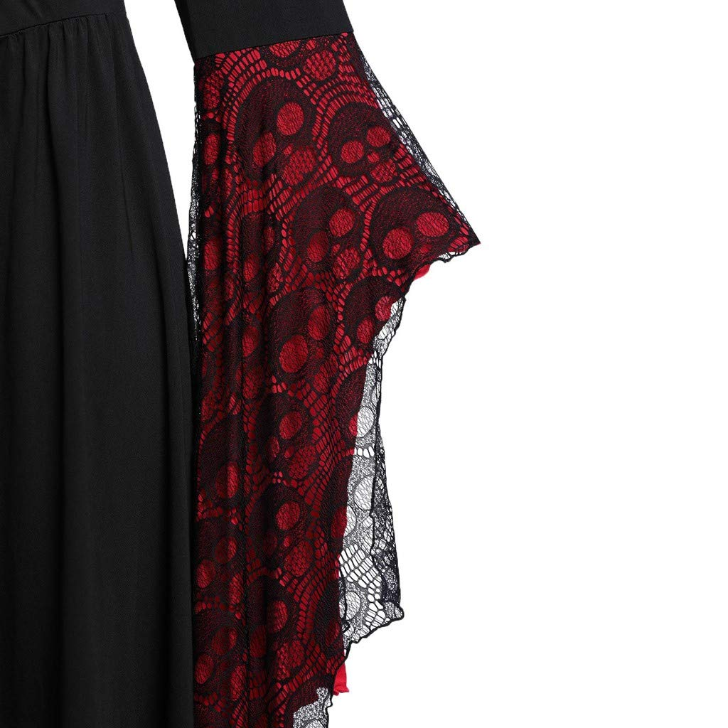 YiYLunneo Women Plus Size Costume Gothic Medieval Dress Vintage Retro Gown Long Dress Halloween