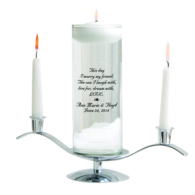 Personalized Floating Wedding Unity Candle Set - Personalized Wedding Candle Set - Includes Stand - This Day JDS GC377 B2