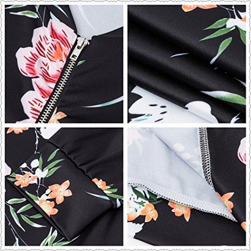 Cappotto Giacca Donne Bomber Outwear Manica Jacket Lunga Floreale Corto Autunno Giacche Bombardiere Leggero Moda Nero Coat l'ananas Stampa 7B7pwqP