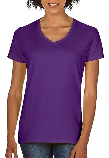 7cd21c3893 Gildan Heavy Cotton Ladies' V-Neck T-Shirt, Purple, X-Large