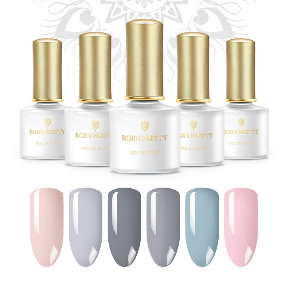 Born Pretty Gel Nail Polish Set, 6 Nude Colors Soak Off Gel Nail Lacquer Kit, Require UV LED Lamp Dryer