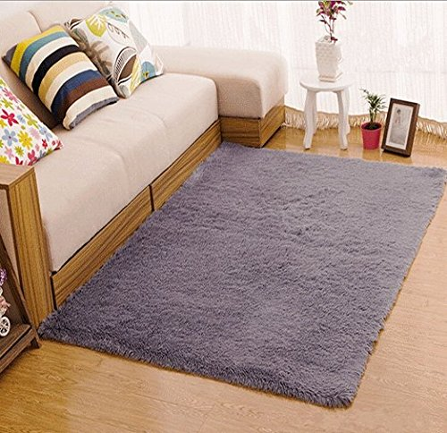 Tojwi Super Soft Modern Shag Area Rugs Living Room Carpet Bedroom Rug for Children Play Solid Home Decorator Floor Rug and Carpets 4- Feet By 5- Feet (Grey)