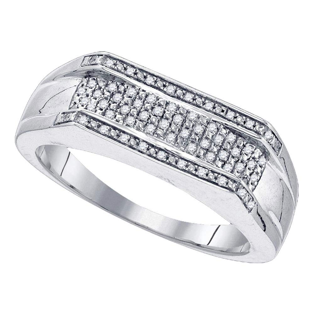 Sterling Silver Mens Round Diamond Flat Band Ring 1//6 Cttw