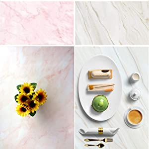 Meking 34x22in Double Sided Pink Marble Photography Backdrop Background Paper for Product, Flat Lay & Food Photo Shooting Tabletop Props