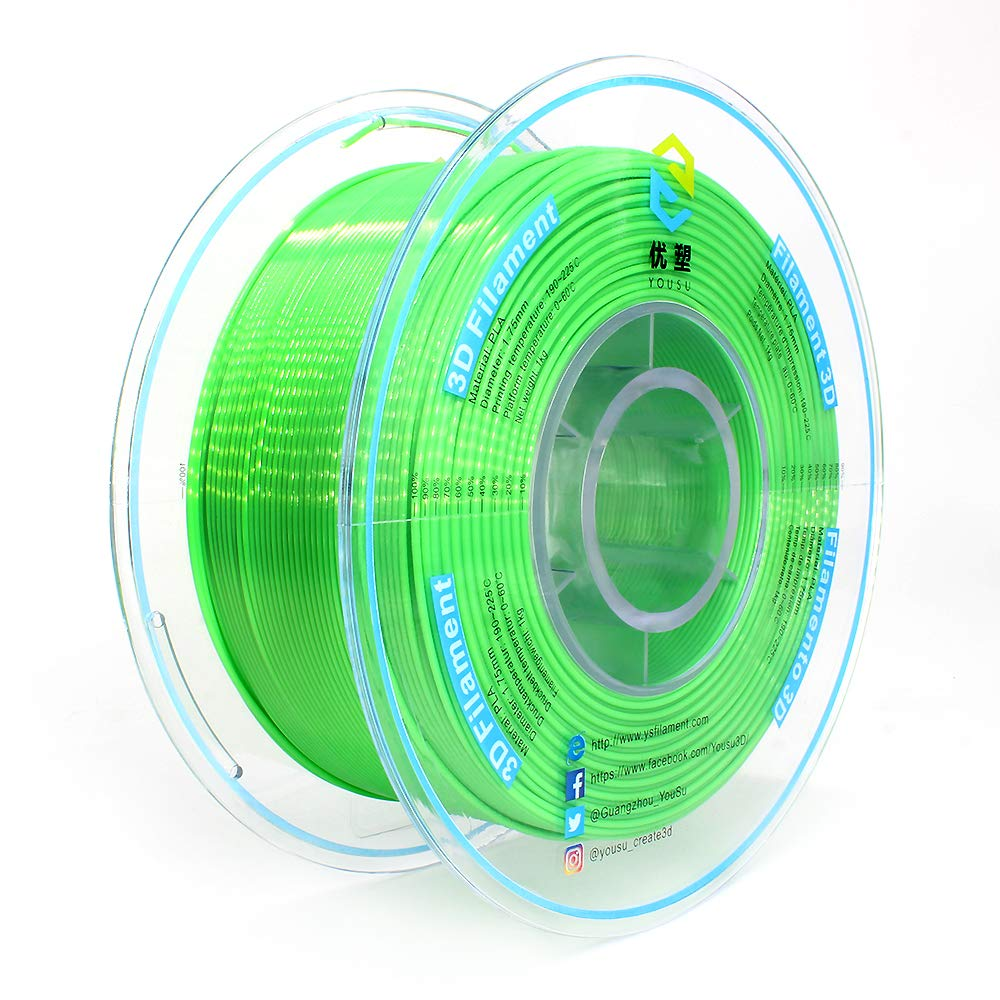 Tangle Free, Pearlescent PLA 3D Filament with Gorgeous Surface by Yousu, Green, 1.75mm 1kg, Strong bonding and Overhang Performance. Compatible with Most of 3D Printer.