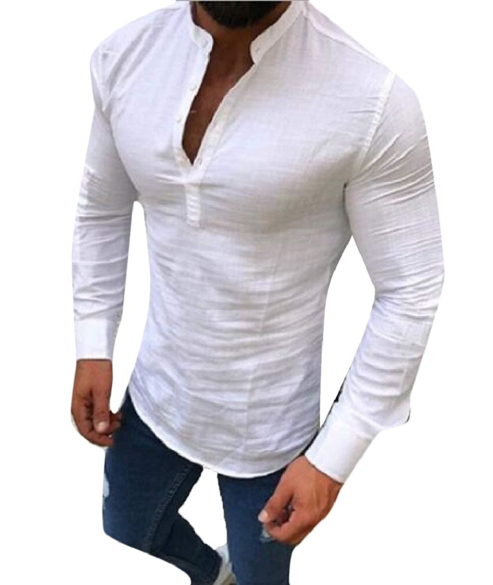 HTOOHTOOH Mens Fashion Slim Fit T-Shirt Buttons Linen Solid Color Long Sleeve Henley Shirt
