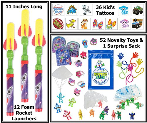 [Rockets & More 100 Pc Kid's Party Favor Prize Pack (Toy Assortment Includes: 12 Foam Rocket Launchers, 12 Sticky Hands, 12 Girl's Glitter Rings, 16 Parachutists, 36 Tattoos &] (Alien Dress Up Ideas For Kids)