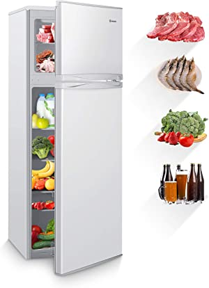 MOOSOO 7.3 Cubic Feet Refrigerator, Dual Door Mini Fridge with Top Freezer, 7 Adjustable Temperature, Removable Shelves, Ultra-Quiet, CSA Certificated, Ideal for Food and Drink Storage (Compact)