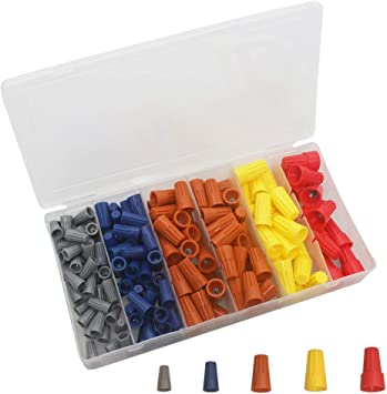 Speaker Automotive BUZIFU 180PCS Electrical Wire Connectors Screw Terminals Twist On Wire Connector Insulated Wire Terminals Connectors Spring Insert Twist Nuts Caps Easy Screw On Cap for Home