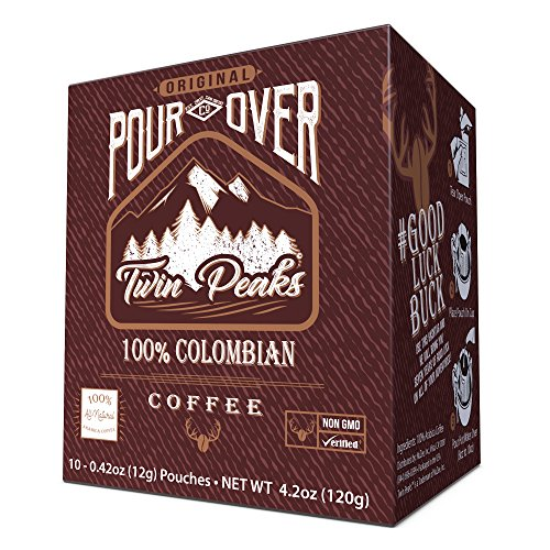 Twin Peaks Premium 100% All Natural Single Serve Pour Over Colombian Arabica Coffee, Non GMO, 10 12 gram pouches