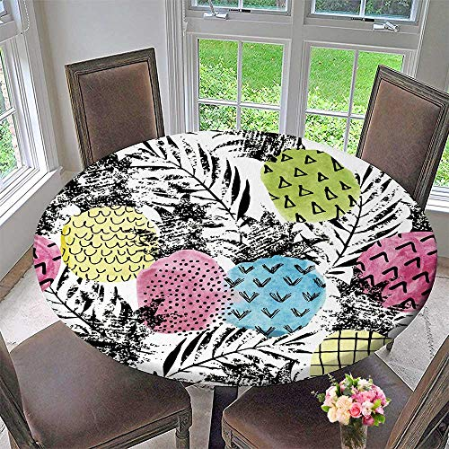 """Chateau Easy-Care Cloth Tablecloth Depositphotos Stock Pineapple with and for Home, Party, Wedding 43.5""""-47.5"""" Round (Elastic Edge)"""