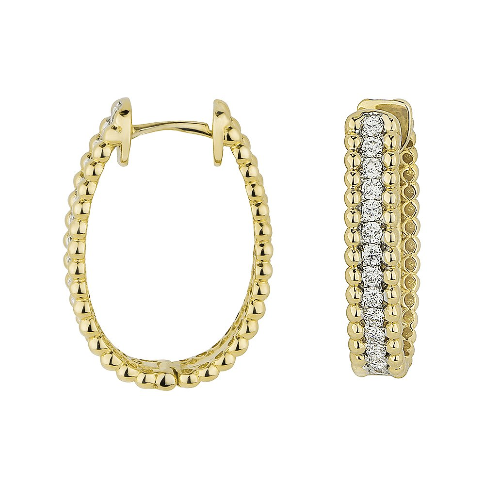 14K Gold Diamond Hoop-Earrings