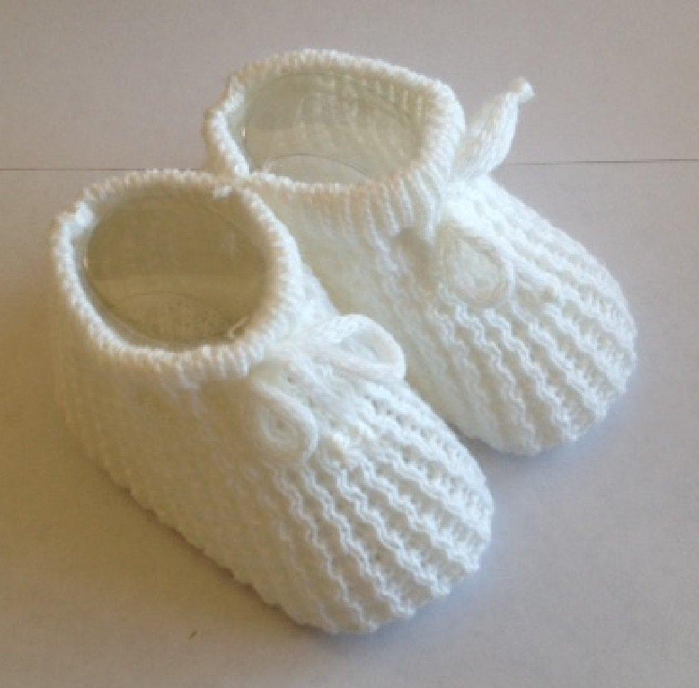 Patucos punto para bebé recién nacido, tamaño de 0 a 3 meses, color rosa, blanco, crema o azul. rosa rosa Talla:0-6_months Soft Touch