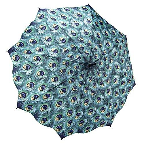 Galleria Peacock Auto-Open Extra Large Quality Rain Stick Umbrella for Women (Umbrella Good Cheap)