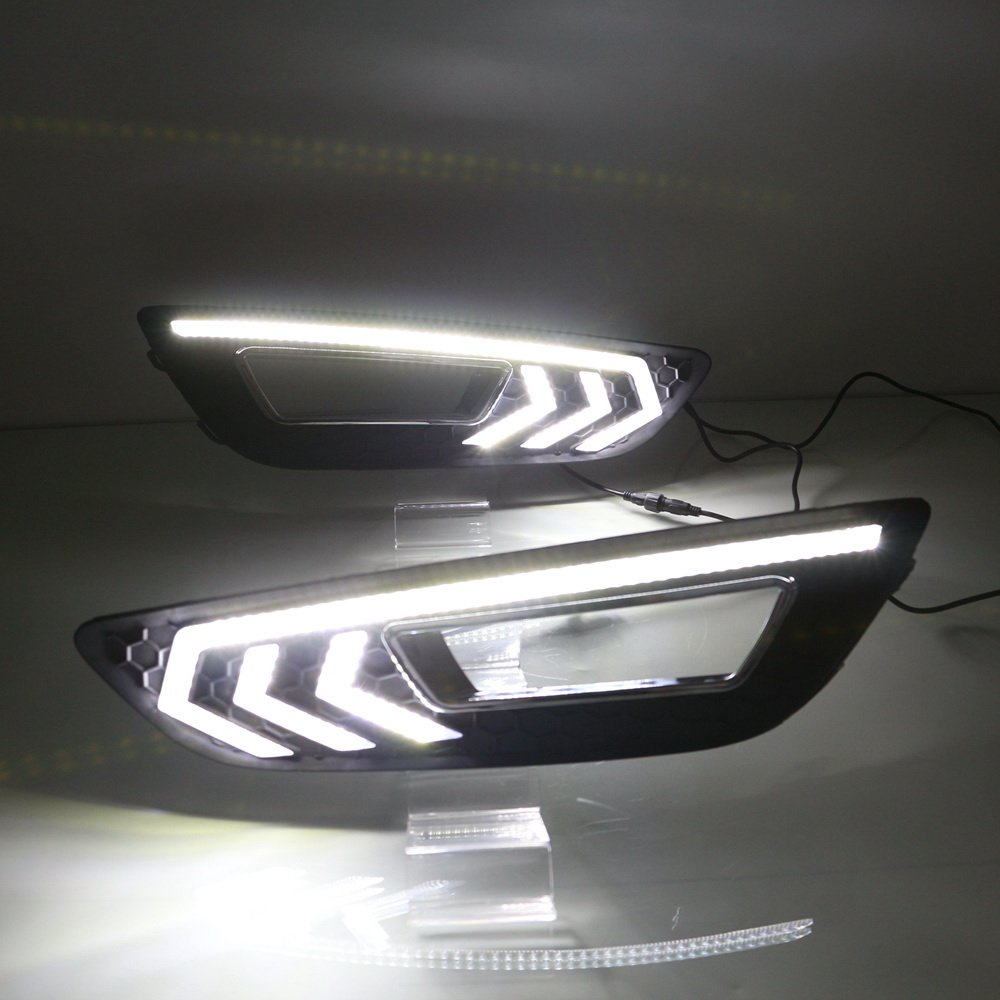 July King LED de luz diurna DRL con cubierta de la l/ámpara de niebla DRL-F-Focus-2015-I para Focus IV 2015 2016 2017 2018 6000K LED parachoques delantero DRL