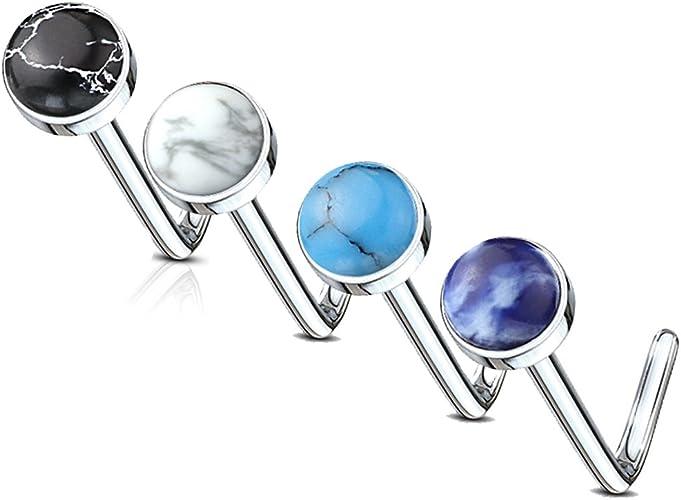 20G Semi Precious Stone Nose Stud Surgical Steel Bar Body Piercing Jewellery