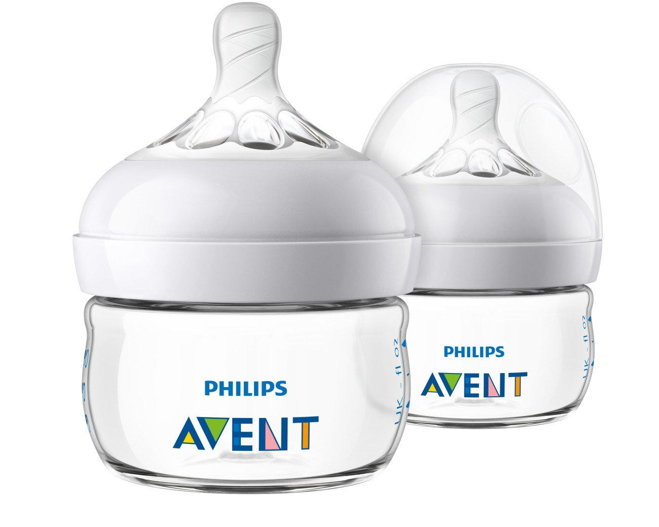 Philips Avent Natural Baby Bottle, Clear, 2oz, 2pk, SCF019/25 by Philips AVENT